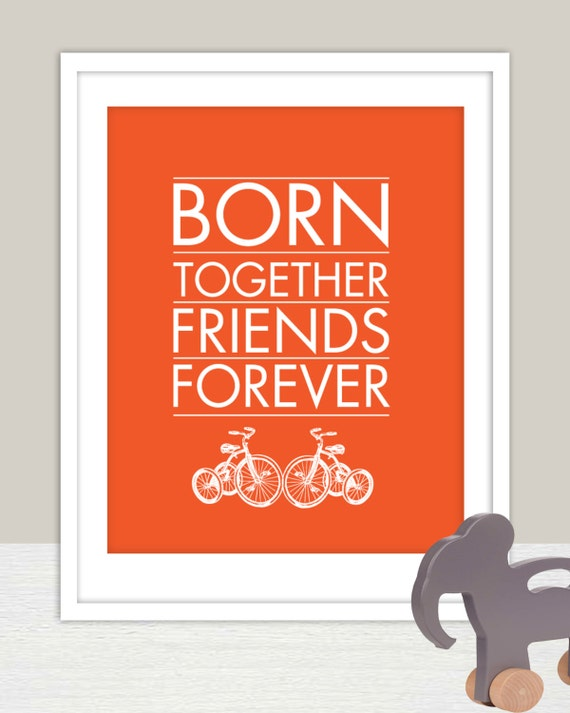 INSTANT DOWNLOAD  - Born Together Art Print for Twins Nursery 11X14 - for Kids and Baby Nursery, multiples, triplets, twins