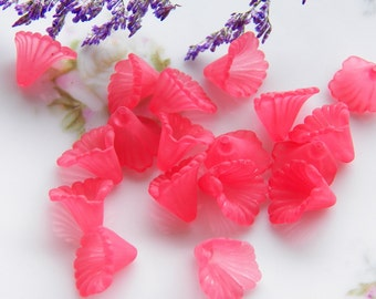 12mm Watermelon Pink Ruffled Calla Lily Frosted Acrylic Flower Beads, 12 PC (INDOC8)