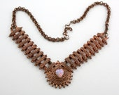 50% OFF, Vintage Hungarian Sweetheart Necklace with Opal Heart. Copper, Victorian.