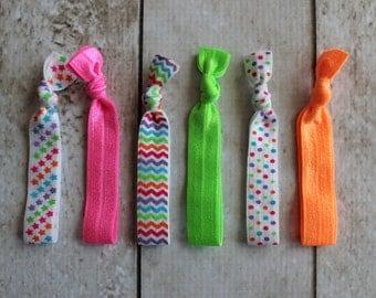 Set of 6 Neon Elastic Hair Ties