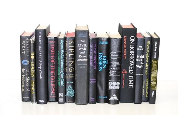 Vintage Black Books Home Decor Library Filler Office Decor