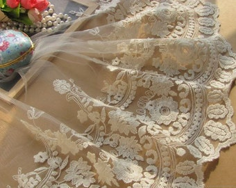 Off White Bridal Lace Trim Embroidered Mesh Lace Floral Lace  9.44 inches Wide 2 yards