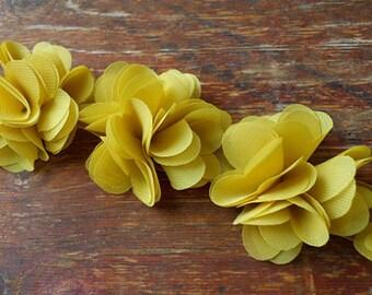 Chiffon Flower Lace Trim , Vintage Yellow Flower Lace, Bridal Flower, Wedding Sash