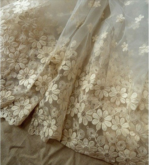 Items similar to ivory bridal lace fabric wedding lace for Wedding dress lace fabric