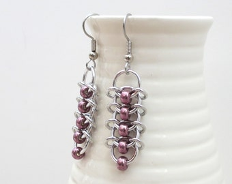 Centipede chain mail earrings with eggplant purple beads