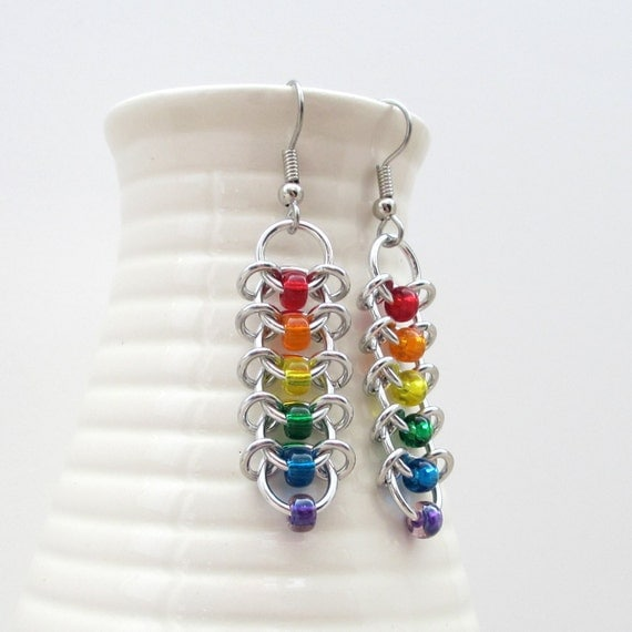 Rainbow LGBT chainmail earrings, gay pride jewelry, beaded Centipede weave chainmail