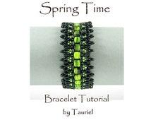 Spring Time, beadwoven bracelet  pattern, immediate download, pdf
