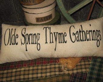"""Primitive Large Holiday Love Pillow Tuck  """" Olde Spring Thyme Gatherings """"  Hand Painted  Country  Rustic  Housewares"""