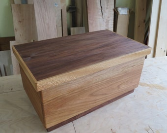 Large Wooden Box From Cherry, Walnut and Curly Maple