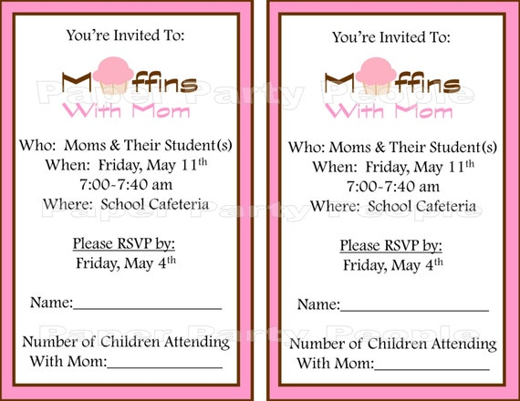 Muffins With Mom Printable Invitation DIY Pink & Brown