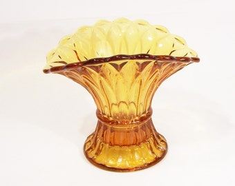 Vintage Amber Small Vase, Bagley Art Deco  Amber Wheat Sheaf Vase, 1930/50s, UK Seller