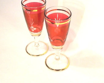 Pair Vintage Cranberry/Red Sherry Glasses, Italy, 1950s, 1960s, UK Seller
