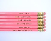 She Is... Pencils- Bright Pink, Set of 6, Stocking Stuffers