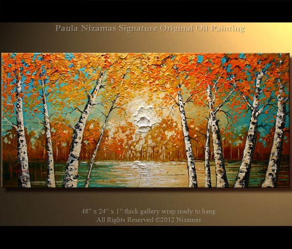 """48"""" Birch Oil Painting Modern Gallery Quality Palette Knife Oil Painting on canvas from P. Nizamas ready to hang"""