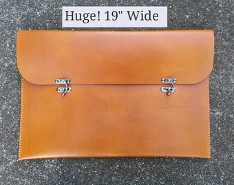 Genuine Leather for Engineer or Designer, Portfolio with Flap -  Holds 11 x 17 Paper Made in the USA