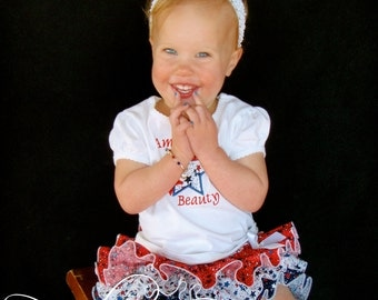 Parley Ray Red White and Blue Patriotic Independence 4th of July Flag Stars All Around Ruffled Diaper Cover/ Baby Bloomers