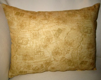 Antique Map Vintage Pillow II, World,  Cushion, French Country Neutral Home Decor, Shabby Chic,