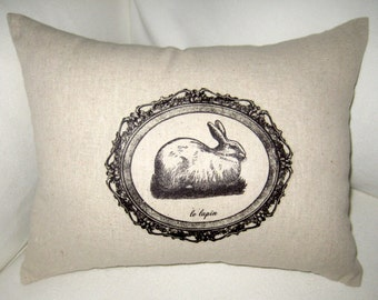 French Country Easter Pillow, Rabbit Lumbar Cushion with French Words, Le Lapin, Paris, Spring, Shabby Chic Neutral Home Decor