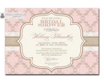 Elegant Bridal Shower Invitation Pink Damask and Lace Shabby Chic Invitation Typography Classic Printable Digital or Printed - Hillary Style