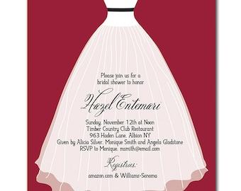 Modern Bridal Shower Invitation Classic Strapless Wedding Gown Garnet Red Black White Minimal DIY Printable or Printed - Hazel Style