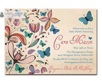 Butterflies Baby Shower Invitation Rustic Antique Colorful Floral & Blue Butterflies Vintage FREE PRIORITY SHIPPING or DiY Printable - Cara