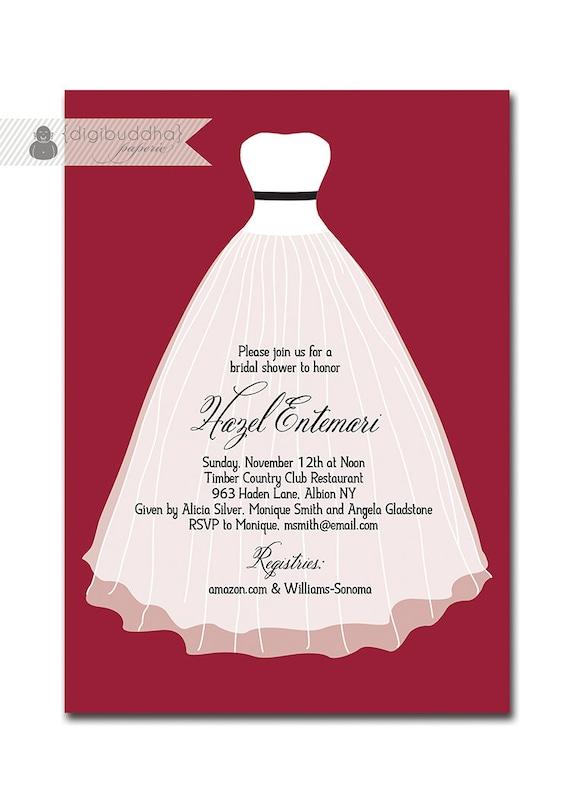 Modern bridal shower invitation classic strapless wedding for Classic bridal shower invitations