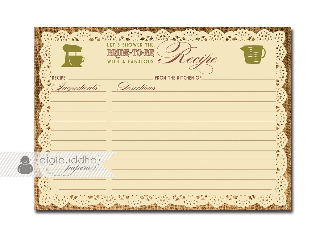 5x7 recipe card template for word - lace burlap recipe card instant download rustic bridal shower