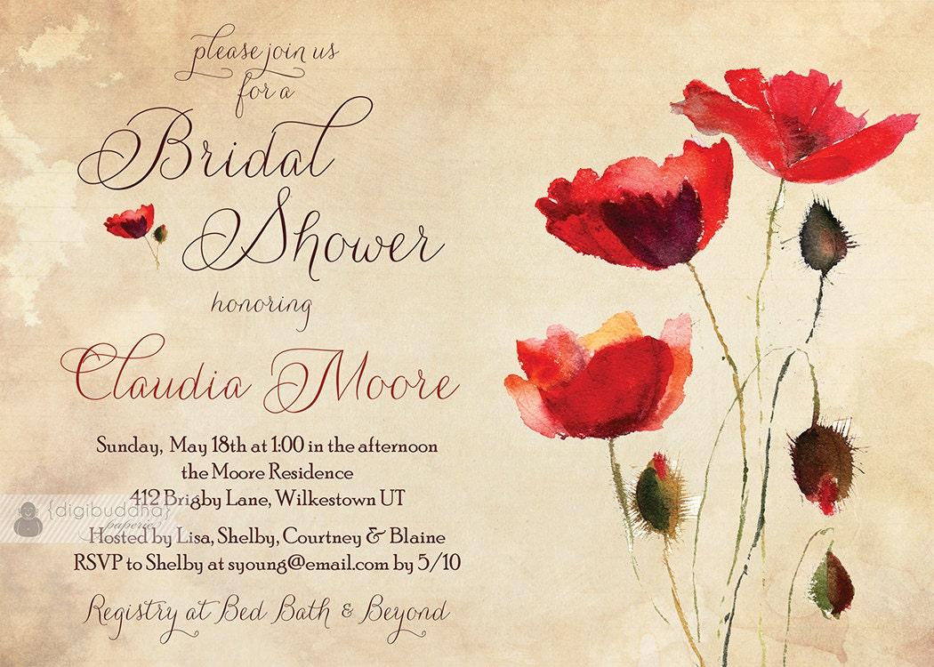 Vintage Poppies Bridal Shower Invitation Rustic Chic Red Poppy ...