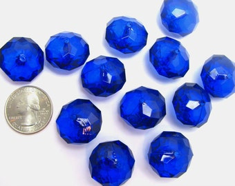 20 Chunky Beads, Royal Blue Rondelle Beads, Big Acrylic Faceted Bubblegum Beads, 23mm