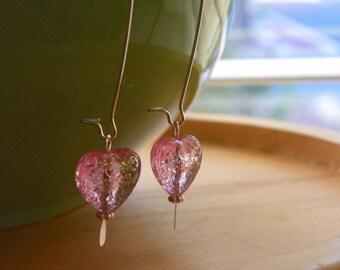EMMA Pink Embossed Heart Earrings