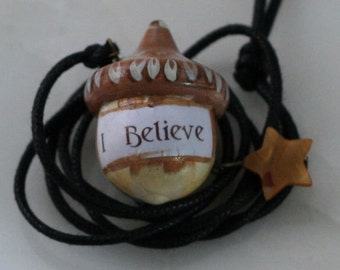 Peter Pan and Wendy Acorn Necklace Kiss - I Believe