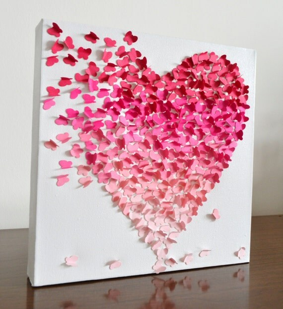 3d butterfly heart wall art small pink ombre nursery for Small wall art