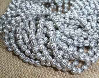 Silver Melon Bead 5mm Czech Glass METALLIC SILVER (50)
