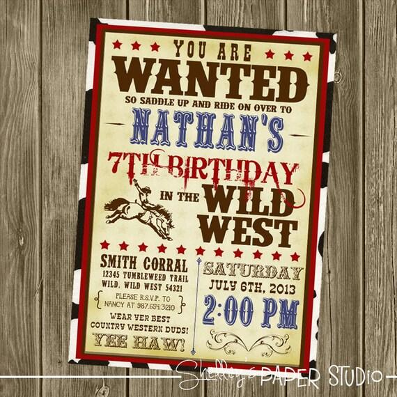 cowboy birthday invitation, Birthday invitations