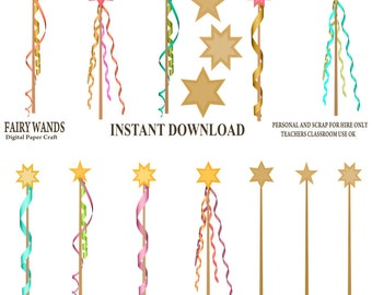 Fairy wand Clipart, Wand clipart, Instant download