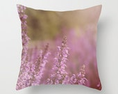 Decorative Throw Pillow Cover Purple Lavender Orchid Romantic Green Flower Floral Shabby Chic Cottage Custom Photo Case Home Bedroom Decor