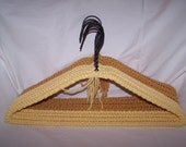 Set of 8 Beautiful Crochet Yarn Covered Hangers in Pale Yellow & Gold