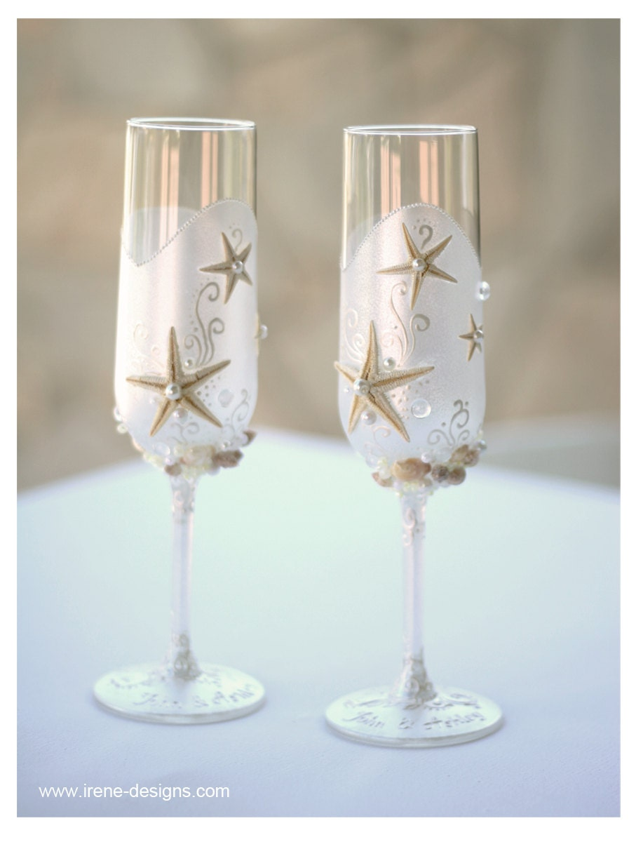 Personalized Pearl Wedding Glasses Champagne
