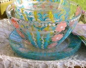 Gorgeous Set of Four Vintage Hand Painted French Arcoroc Bowls, Plates, and Larger Serving Bowl and Vintage Napkin Set