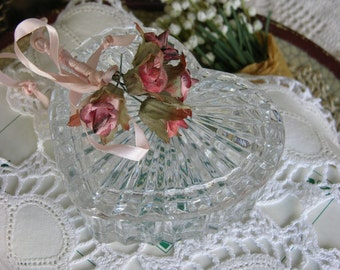 Crystal Glass Two Piece Heart Dish~Valentine Gift and  Mothers Day