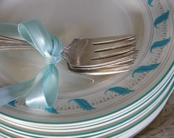 A Set of Nine Extremely Rare Salad Plates In The Crown Ducal Turquoise Leaf and Rim with Filagree Pattern Called Mercury Circa 1930s