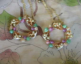 Handmade Earrings made out of Vintage Earring Clips and Shells