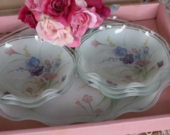 Vintage Glass Platter and Dessert Bowl Set ~ Mid Century Set Made In Japan