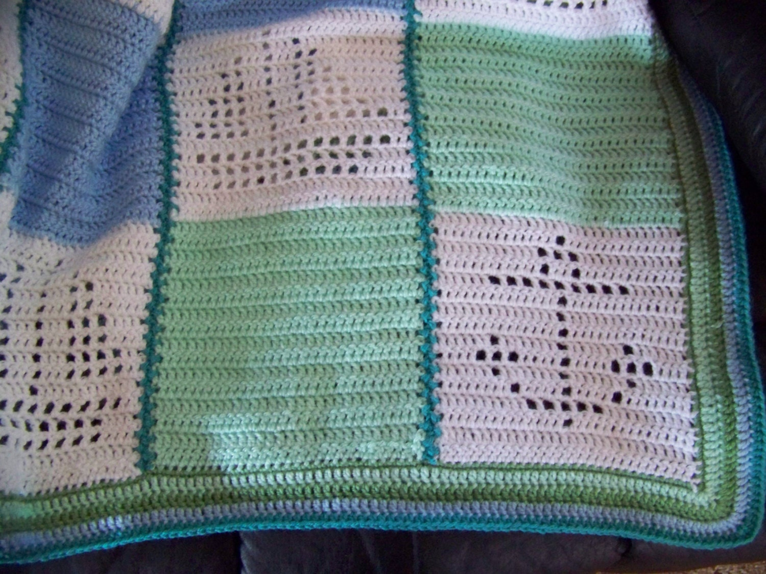 Hand Crocheted Baby Afghan Blanket Nautical Boats And