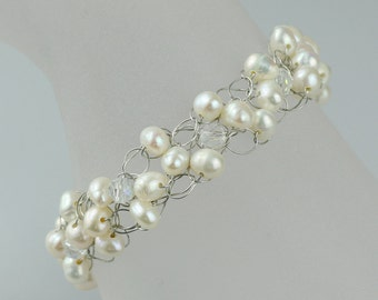Pearl chunky crocheted wiring beaded Bracelet Bridesmaids gifts Free US Shipping handmade Anni Designs