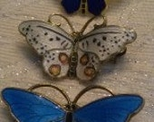 One SPORRONG and Two ASKEL HOLMSEN Enamel Guilloche Butterfly Brooches