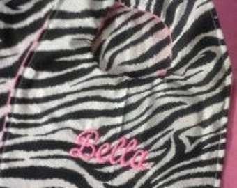 New Hand Made Custom Zebra Print Baby Bib with name Personalized