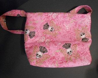 Handmade Skull an Crown Print,  over the shoulder purse