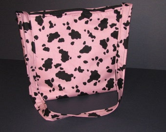 Handmade Pink Cow Print Purse,   over the shoulder purse