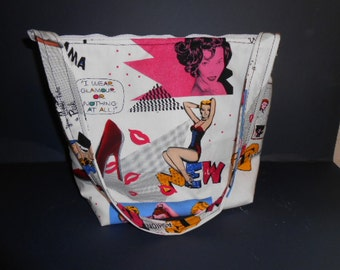 Handmade  Pin up Girl Print Purse,   over the shoulder purse